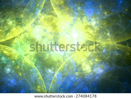 Abstract fractal high resolution star background in shining yellow,green,blue colors with a detailed spherical pattern - stock photo