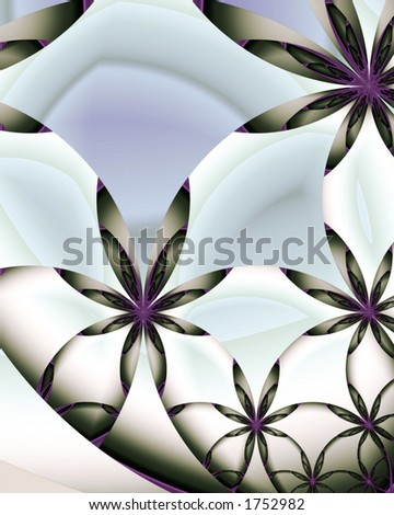 Abstract fractal image of daisies arranged in tiers - stock photo