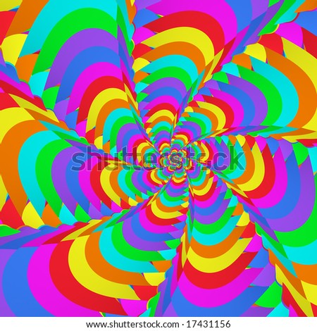 Abstract fractal image resembling a fantasia neon flower burst - stock photo