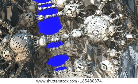 Abstract fractal object similar to a complex mechanism or the molecular structure on a blue background - stock photo