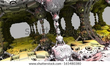 Abstract fractal object similar to a complex mechanism or the molecular structure on a grey background - stock photo