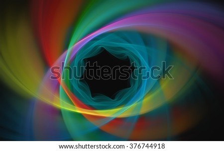 Abstract fractal patterns and shapes. Digital artwork for creative graphic design. Symmetric fractal icon on white background. Colorful illustration.  - stock photo