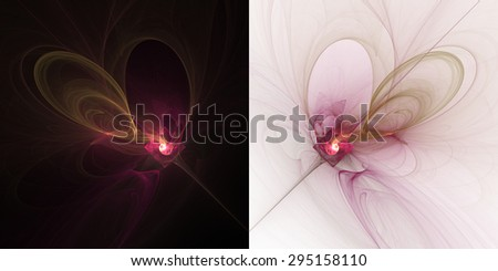 Abstract fractal pink light on black and white backgrounds - stock photo