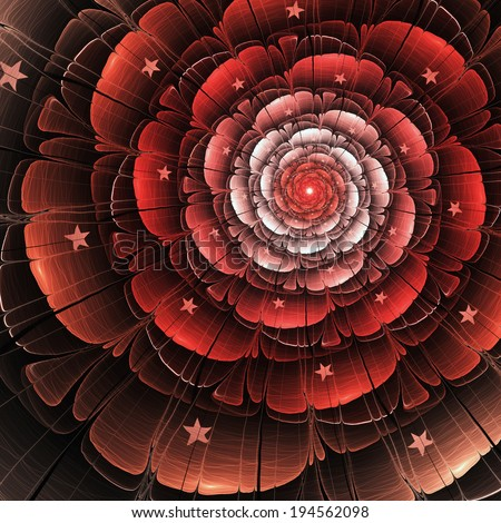 Abstract fractal red rose, digital artwork for creative graphic design - stock photo