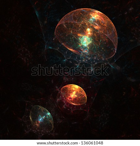 Abstract fractal sea creatures glowing against inky darkness - stock photo