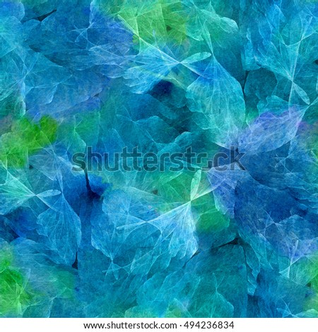 Abstract fractal shapes seamless pattern on watercolor background