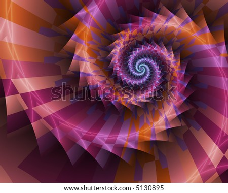 Abstract fractal spiral with stripes of purple and orange.