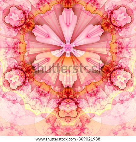 Abstract fractal star flower tower background with a detailed decorative pattern of petals connected by a wavy ring, all in light pastel pink,red,yellow - stock photo
