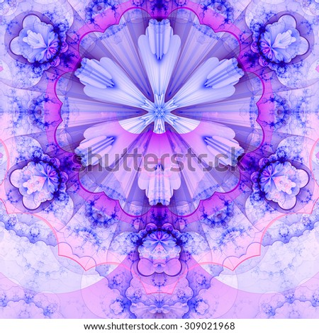 Abstract fractal star flower tower background with a detailed decorative pattern of petals connected by a wavy ring, all in light pastel pink,purple,blue - stock photo