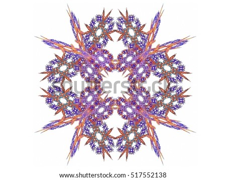 Abstract fractal with purple red pattern on white background