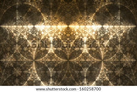 Abstract fractal yellow background with pillars and circles interconnected - stock photo