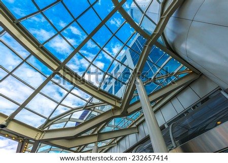 Abstract fragment of the urban architecture, construction of modern luxury building, hotel, shopping mall, business center in Vancouver, Canada.