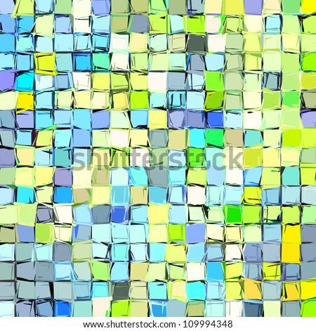 abstract fragmented mosaic blue green yellow backdrop - stock photo