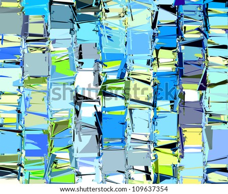 abstract fragmented pattern in blue yellow green - stock photo