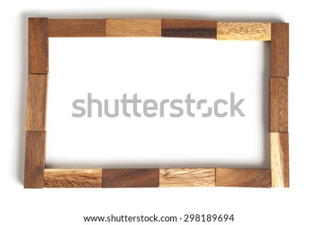 Abstract frame wood block toy. - stock photo