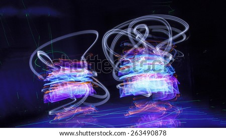 Abstract freezelight curves. light painting - stock photo