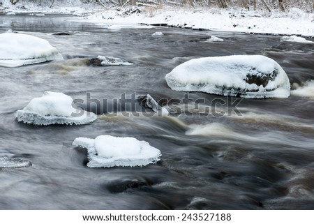 abstract frozen ice textures in the forest country river in winter