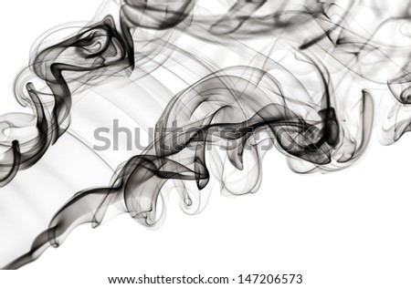 Abstract fume pattern: black smoke swirls and curves on white