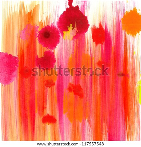 abstract fun background, pink orange drops or color splashes of watercolor paint texture in bright fun blob shapes, colorful design for happy birthday card or brochure layout or web template cover - stock photo