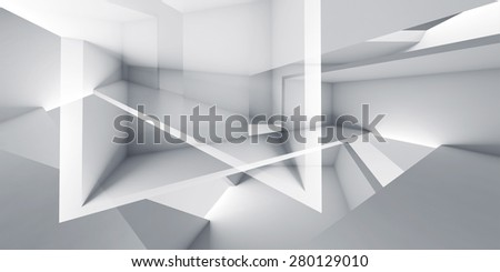Abstract futuristic architecture chaotic background,  digital 3d render illustration - stock photo