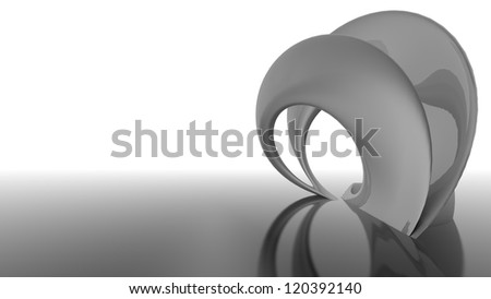 Abstract futuristic architecture organic shapes 3d render black and white