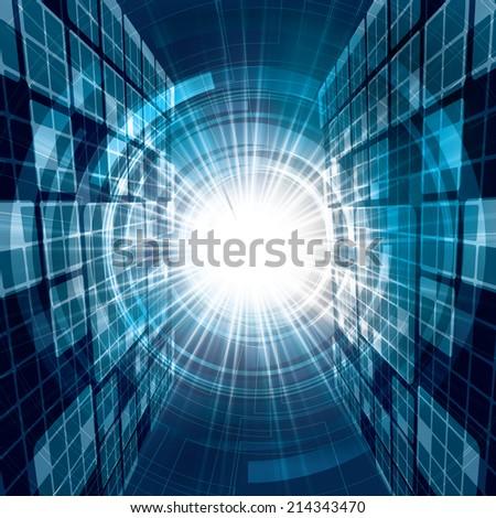 Abstract futuristic blue bright background illustration  - stock photo
