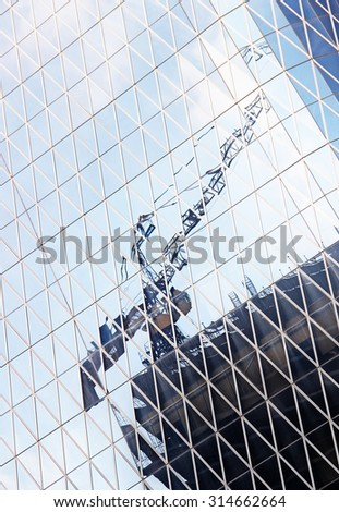 Abstract futuristic cityscape view with modern skyscrapers - stock photo