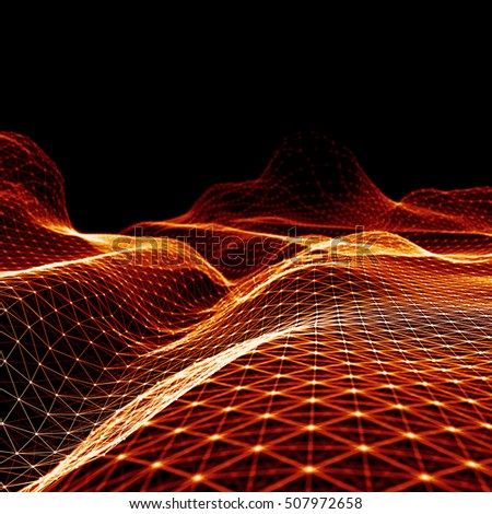 Abstract  Futuristic 3d Render Illustration. Plexus polygonal background. Wireframe landscape concept. Dark sci-fi backdrop. Dots and lines connections. Space surface. Big data macro wireframe.