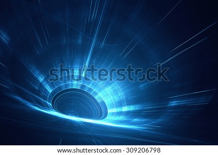 Abstract futuristic 3D speed tunnel warp - stock photo
