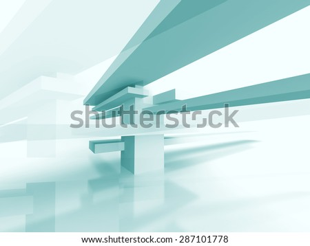 Abstract Futuristic Geometric Architecture Background. 3d Render Illustration