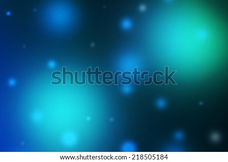 Abstract futuristic glowing floating blue and green orbs on dark background - stock photo