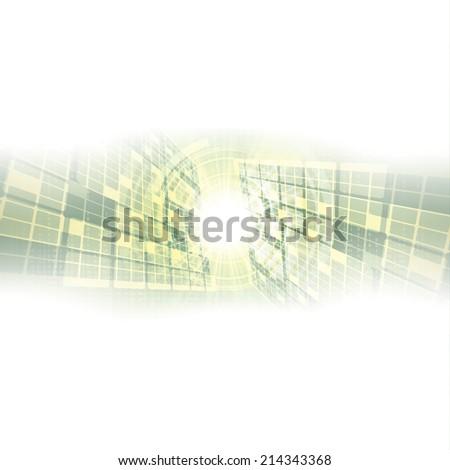 Abstract futuristic green white background illustration  - stock photo