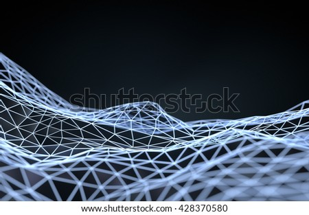 Abstract futuristic illustration of polygonal shape. Low poly surface with connecting dots and lines on dark background. 3D rendering - stock photo