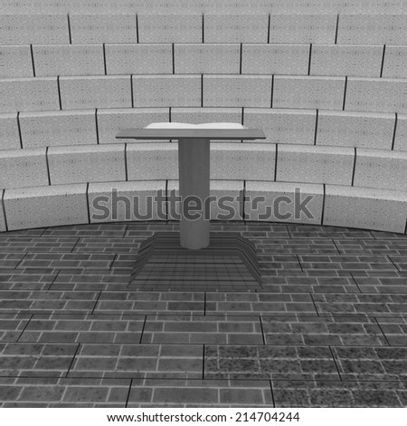 Abstract futuristic interior. Brick scene with cathedra and tribune.  - stock photo