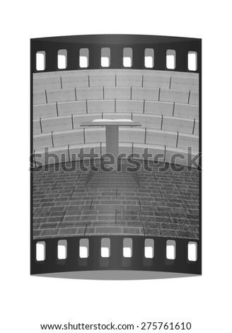 Abstract futuristic interior. Brick scene with cathedra and tribune. The film strip - stock photo