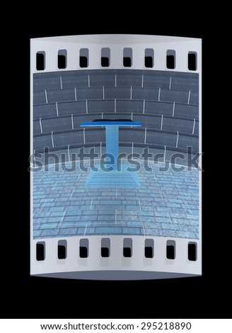 Abstract futuristic interior. Brick scene with cathedra and tribune. The film strip - stock photo