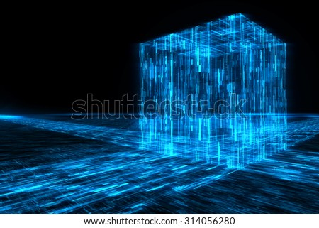 Abstract futuristic lines with cube background - stock photo