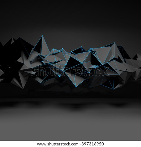 Abstract futuristic polygonal structure with blue wire-frame lines in dark room interior, 3d render illustration