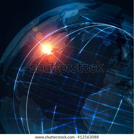 Abstract futuristic realistic earth . Sci Fi globe at motion . Global network connection . Digital world map . Technology background . Vector illustration  - stock photo