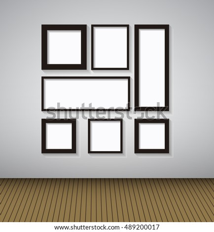 Abstract Gallery Background with Lighting Lamp and Frame. Empty Space for Your Text or Object.