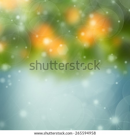 abstract garden background with blue, green and orange and bokeh lights - stock photo