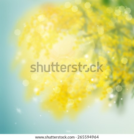 abstract garden background with yellow flowers and sunshine - stock photo