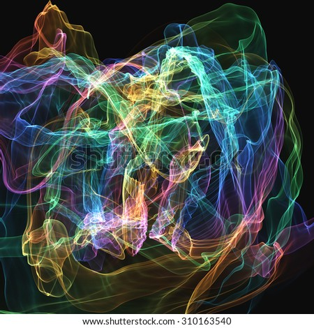 Abstract generated colorful pattern over black background - stock photo