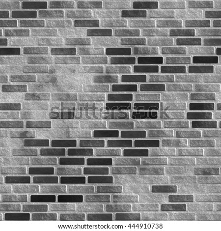 Abstract generated grey brick wall surface vintage seamless background - stock photo