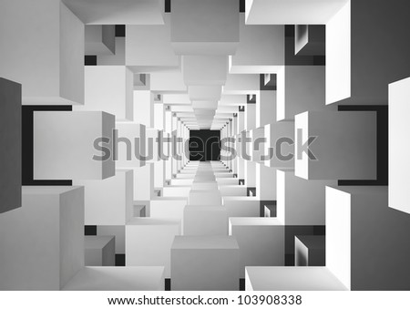 abstract geometric background - 3d illustration - stock photo