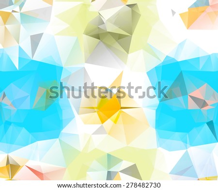 Abstract geometric background. Multicolored triangles. Beautiful inscription. Triangle background with bright lines. Pattern of crystal geometric shapes. Mosaic banner. Light version. Raster version - stock photo