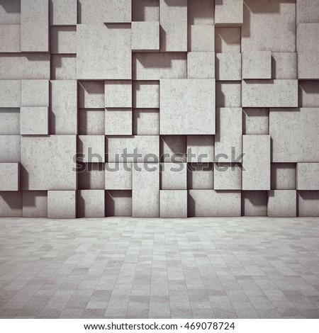 Abstract geometric background of the concrete. 3D illustration.