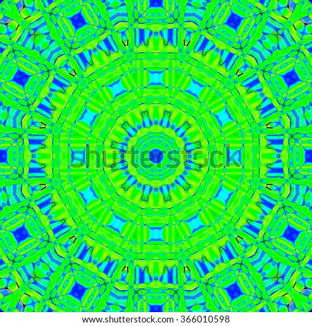 Abstract geometric background, seamless circle and square pattern, lime green ornament with elements in blue shades, ornate and extensive  - stock photo