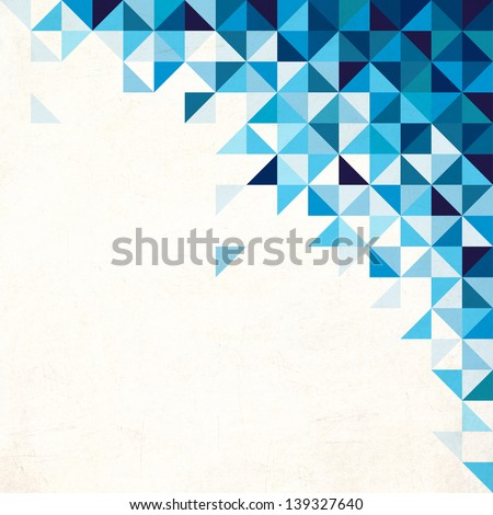 Abstract, geometric background, triangle and square, blue - stock photo