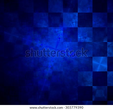 Abstract geometric background with columns and rows of squares and a star-like distorted pattern mixed in to, all in dark glowing blue - stock photo